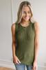 Cape Hatteras Open Knit Sweater Tank - Olive