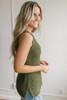 Cape Hatteras Open Knit Sweater Tank - Olive - FINAL SALE