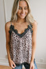 Lace Detailed Leopard Tank - Mocha Multi  - FINAL SALE