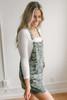 Sasha Camo Denim Overall Dress - Olive Multi