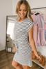 Short Sleeve Striped Knot Dress - Off White/Black