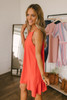 Eye Candy Ruffle Hem Halter Dress - Red Orange