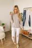 Button Sleeve Dolman Knit Tunic - Heather Taupe/Blush