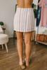 Asymmetrical Button Down Striped Linen Skirt - Ivory Multi - FINAL SALE