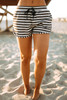 Drawstring Striped Terry Shorts - Cream/Charcoal