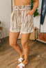 Tie Waist Striped Paperbag Shorts - Brick Multi  - FINAL SALE