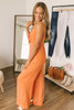 Sadie & Sage Tie Front Dot Jumpsuit - Orange/White - FINAL SALE