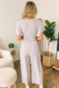 Elegant Short Sleeve Tie Detail Jumpsuit - Light Grey
