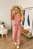 Short Sleeve Button Down Jumpsuit - Dusty Salmon