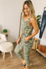 French Terry Camo Jogger Jumpsuit - Olive