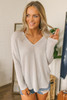 Everly V-Neck High Low Ribbed Top - Light Grey