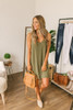 North Shore Button Down Linen Dress - Olive- FINAL SALE