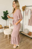 Button Down Tie Waist Tiered Jumpsuit - Mauve