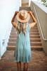 V-Neck Frayed Linen Dress - Sage Lagoon