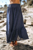 Ruffle Hem Dotted Maxi Skirt - Navy/White