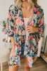 Floral Oasis Ruffle Sleeve Kimono - Navy Multi