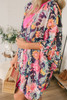 Floral Oasis Ruffle Sleeve Kimono - Navy Multi  - FINAL SALE