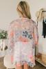 Hawaiian Tropics Tie Front Floral Kimono - Grey Multi