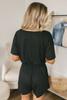 Short Sleeve Drawstring Romper - Black