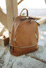 Bay Area Tripe Vegan Leather Backpack - Taupe