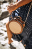 Straw Accented Round Crossbody - Brown Multi