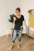 V-Neck Slubbed Knit Pocket Tee - Black - FINAL SALE
