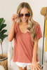 V-Neck Slubbed Knit Pocket Tee - Sienna