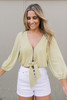 Clasp Front Polka Dot Knot Top - Lime/White  - FINAL SALE