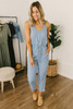 Everly Drawstring Denim Jumpsuit - Medium Wash