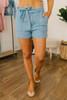 Tie Waist Denim Shorts - Medium Wash