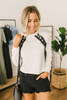 Lace Up Raglan Crop Sweatshirt - White/Black