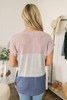 Colorblock Dolman Twisted Knot Top - Pink/Grey/Blue
