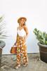 Everly Tie Waist Floral Contrast Jumpsuit - Mustard/White