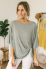 3/4 Sleeve High Low Knot Top - Olive