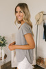 Everly Soft Terry Curved Hem Top - Heather Grey  - FINAL SALE