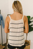 Twisted Hem Striped Tank - Cream/Black