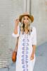 Mykonos V-Neck Embroidered Midi Dress - White/Blue - FINAL SALE