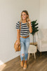 Puff Sleeve Burnout Striped Tee - Navy/Ivory