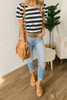 Puff Sleeve Burnout Striped Tee - Navy/Ivory - FINAL SALE