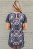 Short Sleeve Crochet Shift Dress - Navy/Blush