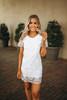 Short Sleeve Crochet Shift Dress - White