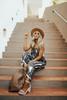 Indie Tie Dye Wide Leg Jumpsuit - Charcoal/White