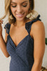 Ruffle Strap Lace Up Eyelet Jumpsuit - Navy - FINAL SALE