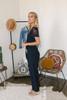 Short Sleeve Lace Detail Tie Waist Jumpsuit - Navy - FINAL SALE