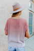 V-Neck Twisted Knot Mauve Ombre Top