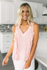 V-Neck Ruffle Detailed Dotted Tank - Pink - FINAL SALE