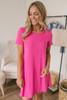 Caribbean Cove Pocket T-Shirt Dress - Fuchsia