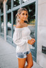Carly Off the Shoulder Smocked Top - Off White - FINAL SALE