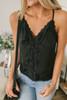 Button Down Lace  Camisole Tank - Black