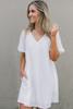 Short Sleeve V-Neck Tunic Dress - Ivory